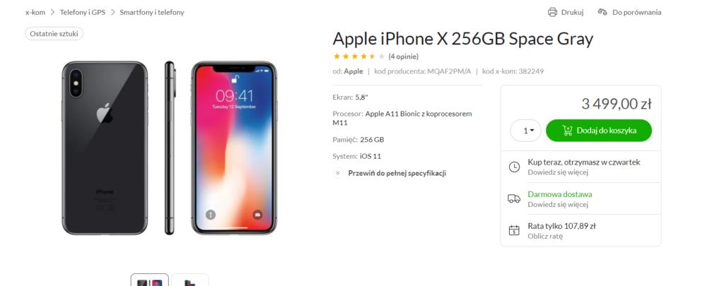 apple iphone x promocja